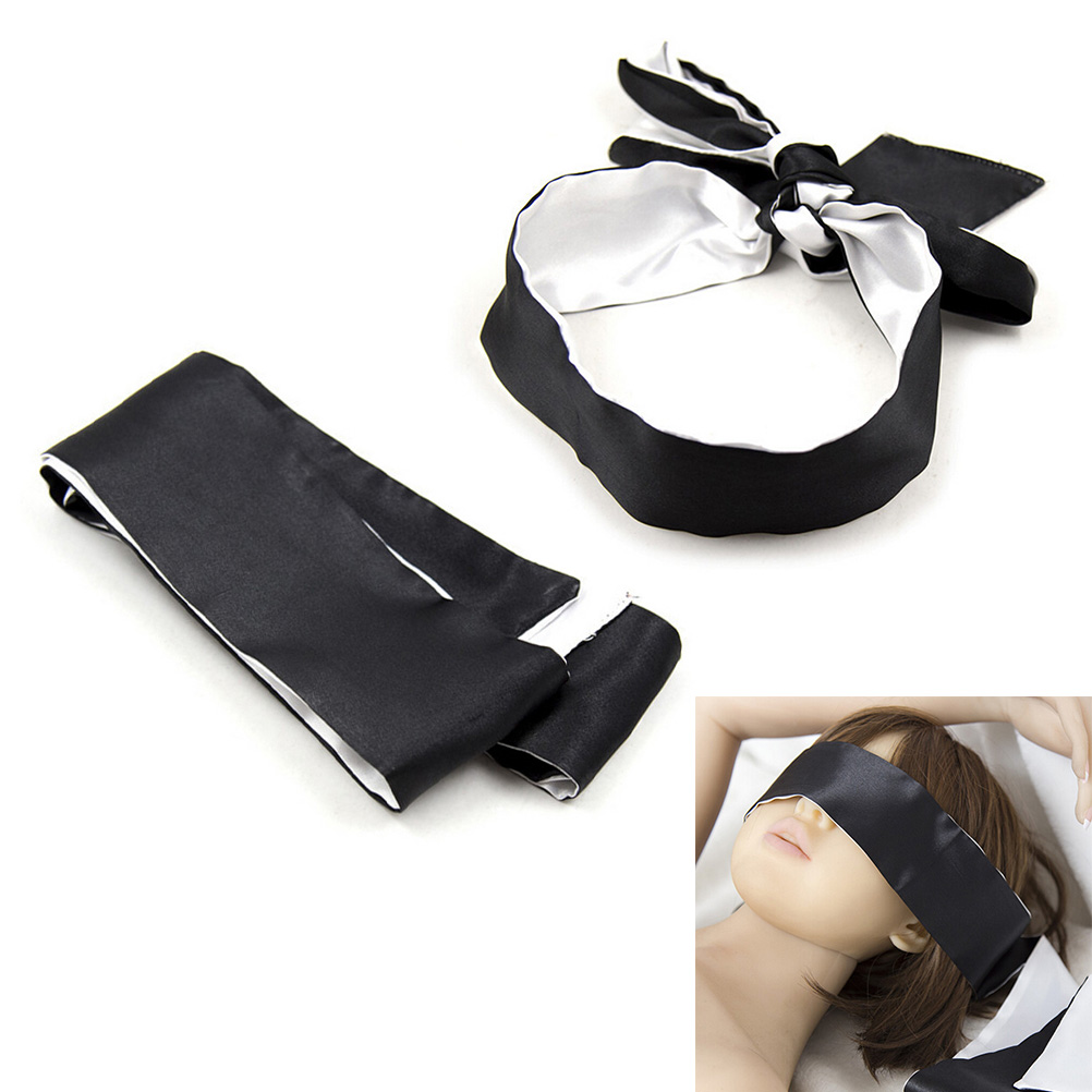 New Soft Silk Satin Eye Mask Blinder Shade Blindfold Ribbon Reversible Eyepatch