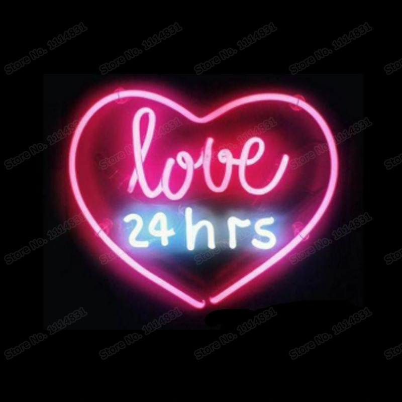 Love 24 Hours Neon Sign Custom Handmade Real Glass Tube Bedroom Home Store Decoration Window Art Gift Display Neon Signs 14X9 image