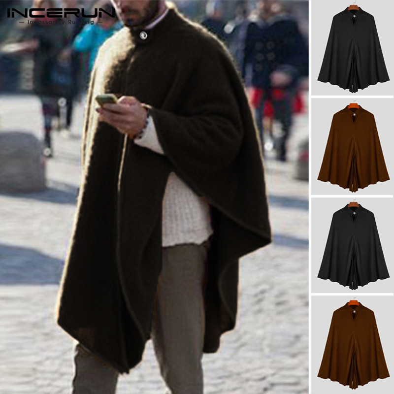 INCERUN Fashion Men Trench Cape Cloak Coat Outwear Casual Loose Fit Jackets Autumn Warm Gothic Punk Leisure Mantle Hombre 2020