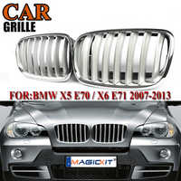 MagicKit 2PCS Silver Front Hood Sport Bumper Kidney Grille Grill For BMW E70 E71 X5 X6 SUV 2007-2013 Front Bumper Kidney Grille