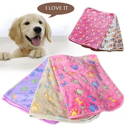 Warm Pet Mat Cat Dog Puppy Paw Bone Printed Soft Fleece Blanket Bed Cushion|Houses, Kennels & Pens|   - AliExpress