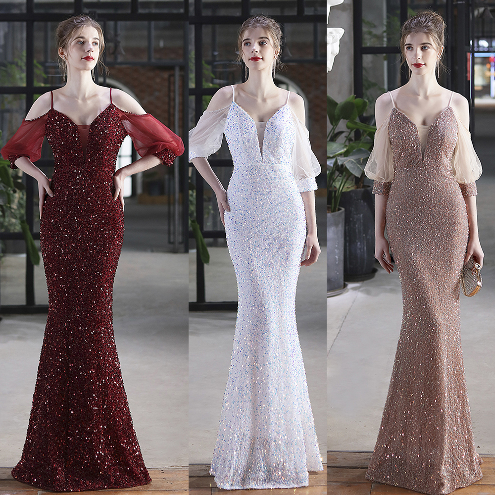 Colorful Sequins Mermaid Cocktail Dress Off Shoulder V Neck Party Prom Gowns Backless Spaghetti Strap Floor Length Women Vestido