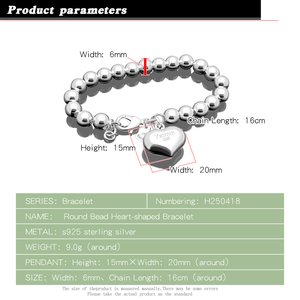 Image 2 - Fashion 100% 925 sterling silver Heart Bracelet Women solid silver Hand catenary Girl simple ball bracelet Charm Fine Jewelry