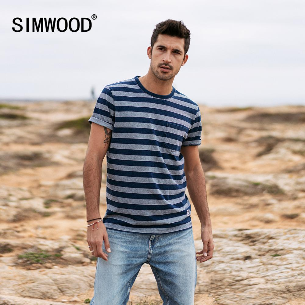 SIMWOOD 2020 Summer New Striped T-shirt Men Plus Size 100% Cotton Chest Pocket Fashion Casual Tops Breathable T Shirt  SJ170172