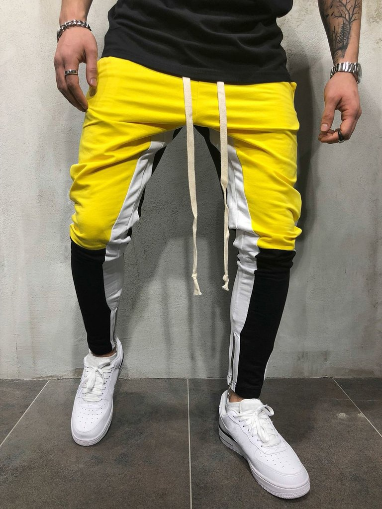 New Style Men Joint Yellow Fashion Casual Gymnastic Pants PENCIL PANTS