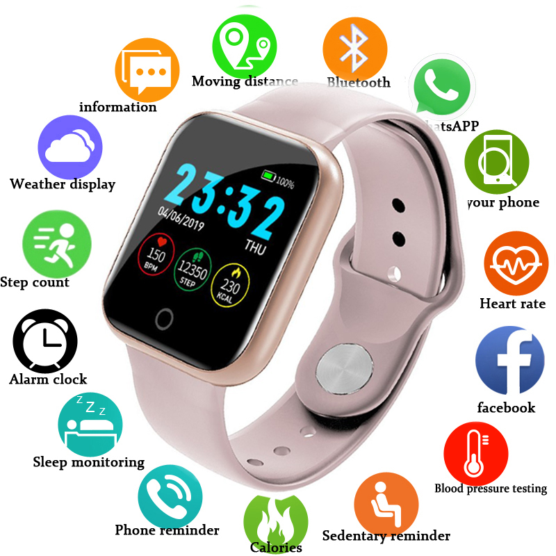 Electronic digital watches For Men Women Blood Pressure Heart Rate Waterproof Tracker Sport Clock Watch Smart For Android IOS