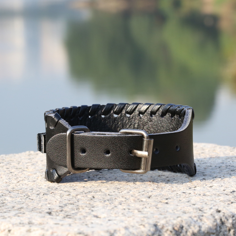 Punk Men's Cowhide Leather Bracelet Adjustable Charm Woven Leather Bracelet Men's Bracelet