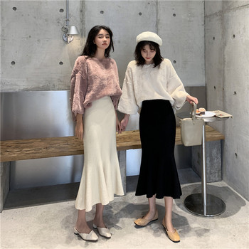 Winter Spring Knitted Mermaid sweater skirt Elastic High Waist Women Midi Skirt Solid Ruffle Party Skirts  Female self belt ruffle waist high split skirt
