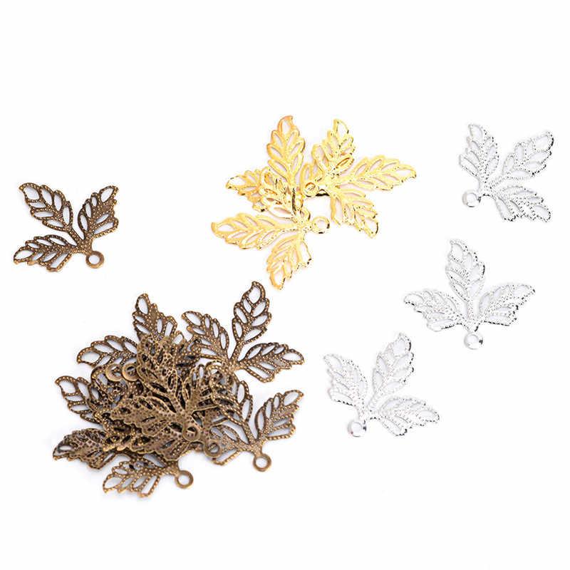 ホット 100 個フィリグリーラップ葉チャームペンダント細工 2.5 ミリメートル金属コネクタ工芸品ジュエリー作成diyのためのアクセサリー
