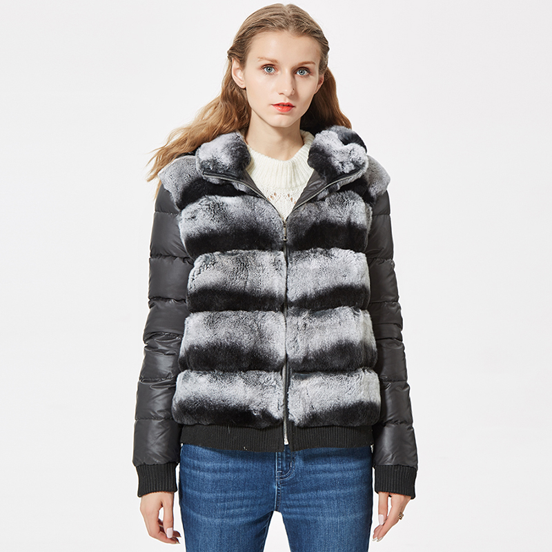 real rex rabbit fur coat with hood down coat jacket sleeves sporty fashion real fur jacket hooded title=