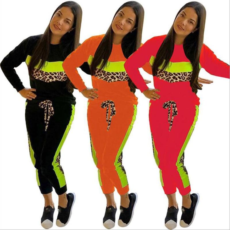 Autumn And Winter Sportswear Women's Long Sleeve Sweater Top Jogging Pants Set Two Piece Fashion Leopard Print Set