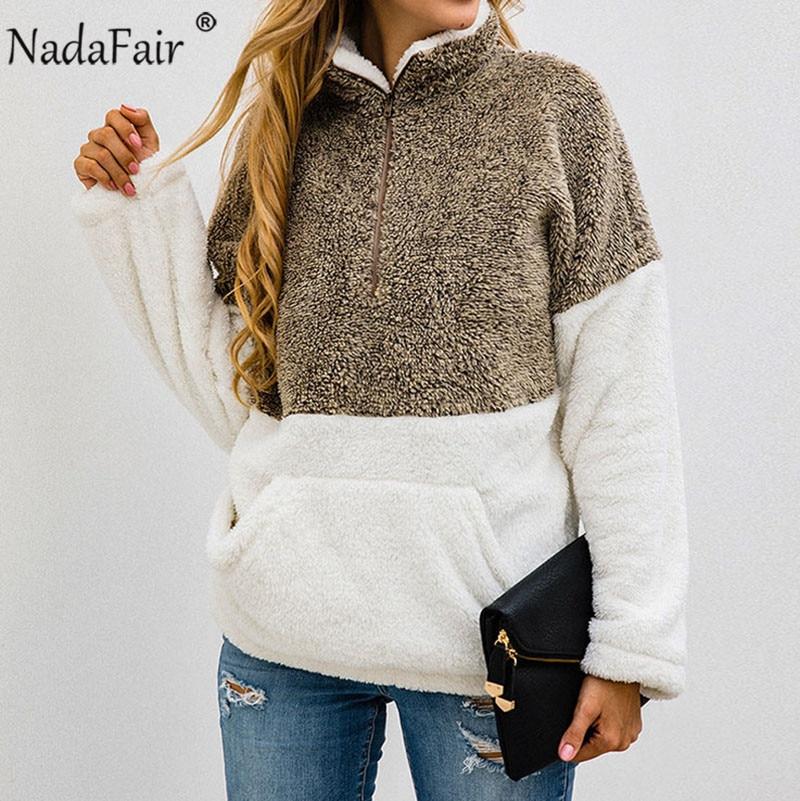 Nadafair Faux Fur Casual Oversized Hoodies Women Sweatshirt 2019 Autumn Patchwork Pockets Zip Plus Size Fleece Winter Pullover