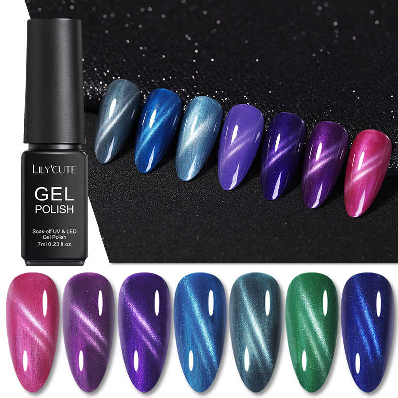 Lilycute 7 Ml Cat Eye Nail Gel Polish Hijau Ungu 3D Cat Eye Uv Gel Semi Permanen Tahan Lama Rendam off Nail Art Gel Varnish