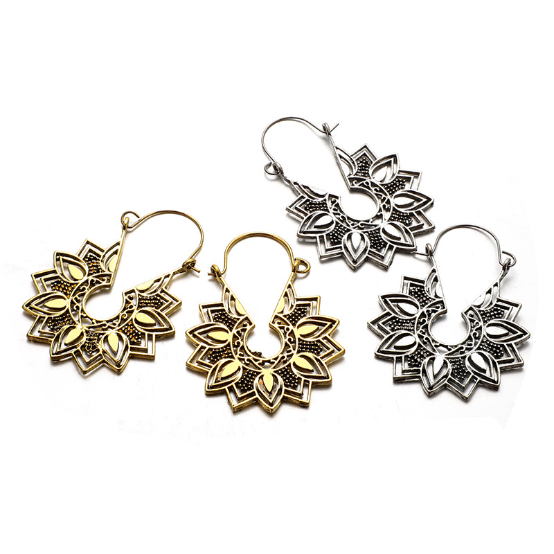 Hf2fc9d480ab743e6aa2440d8322108d9b - Tibetan Silver Color Color Carved Flower Vintage Ethnic Drop Dangle Earrings Retail Jewelry Jewellery Gift For Women