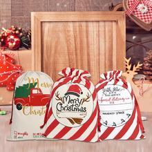 1PC Large 27*19in Christmas Bag Santa Sack Canvas Reusable Candy Storage New Year Gift Bags bolsas navidad