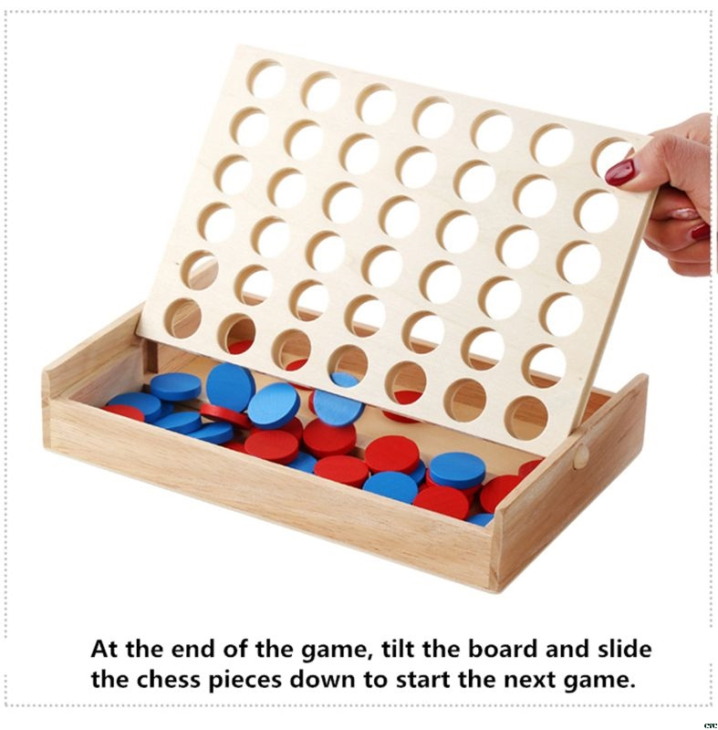 4 in a Row Four in a Row Wooden Game Line Up 4 Classic Family Toy