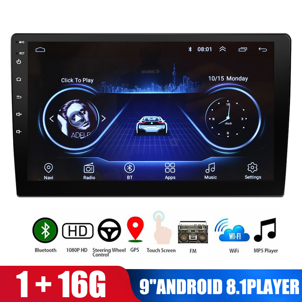 Universal MirrorLink 9'' Car Multimedia Player 16G Android 8.1 WIFI <font><b>GPS</b></font> Navigation ADAS <font><b>Autoradio</b></font> <font><b>2</b></font> <font><b>Din</b></font> Car FM Radios DVD Player image