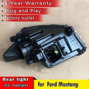 Image 4 - Auto Styling 2015 2018 für Ford Mustang Scheinwerfer LED OEM version Scheinwerfer DRL LED Objektiv Doppel Strahl auto Zubehör