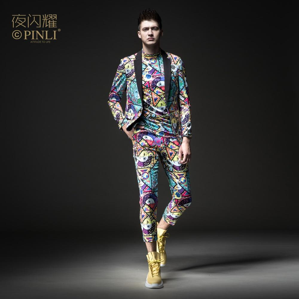 Free Shipping Men's Male Man Casual Night Shines 2019 Printed Suit Jacket BY183106006 And Cropped Trousers BY183115007 2 Pcs Set