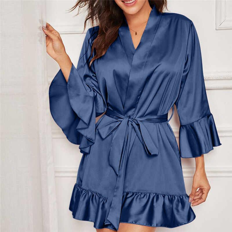2019 yeni ipek Kimono Robe bornoz gecelik kadın ipek nedime elbiseler seksi bayanlar sabahlık pijama pijama #40