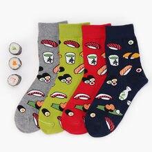 Harajuku japonês Sushi Projeto Engraçado Meias Criativa Dos Desenhos Animados Socks Tripulação Mulheres Novidade Divertidos Calcetines Mujer 4 Cor Sokken