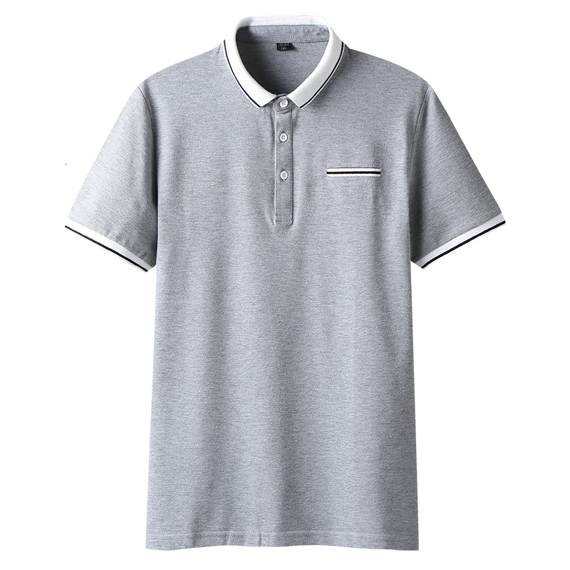 Male   Polo   Summer Brand White Short-sleeved Cotton Powder Slim Fit Tops Tees