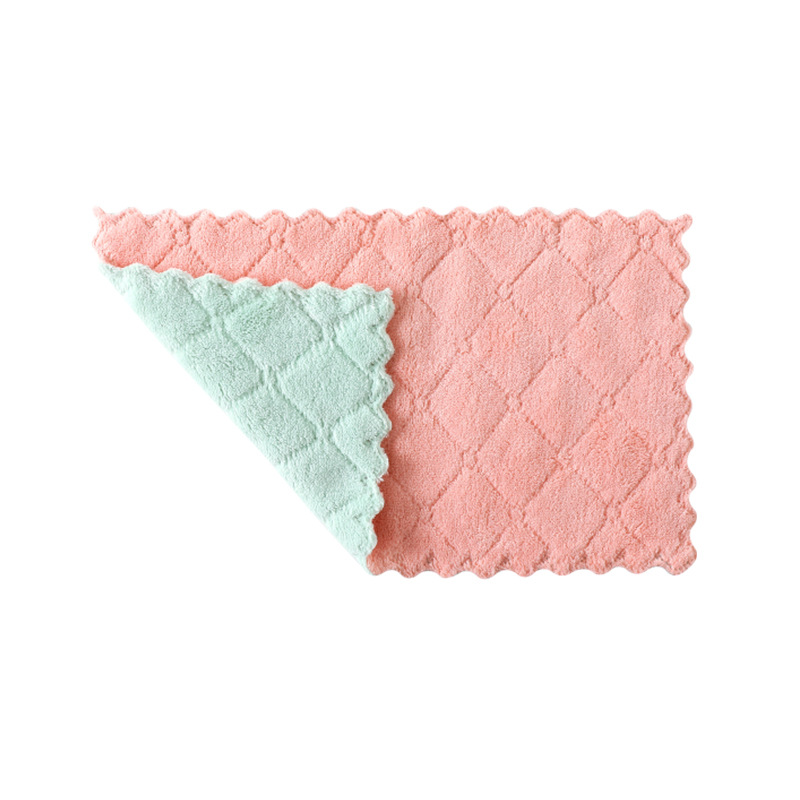 Water Absorbent Dishcloth Thickened Wipe Tablecloth Towel Kitchen Does Not Touch Oil Drop Hair Cleaning Cloth