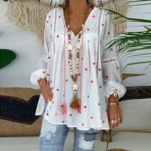 Plus Size Winter Autumn Fashion Tassels Star Print Blouse Casual Loose V-Neck Top Female Women Long Sleeve Shirt Blusa Pullover(China)