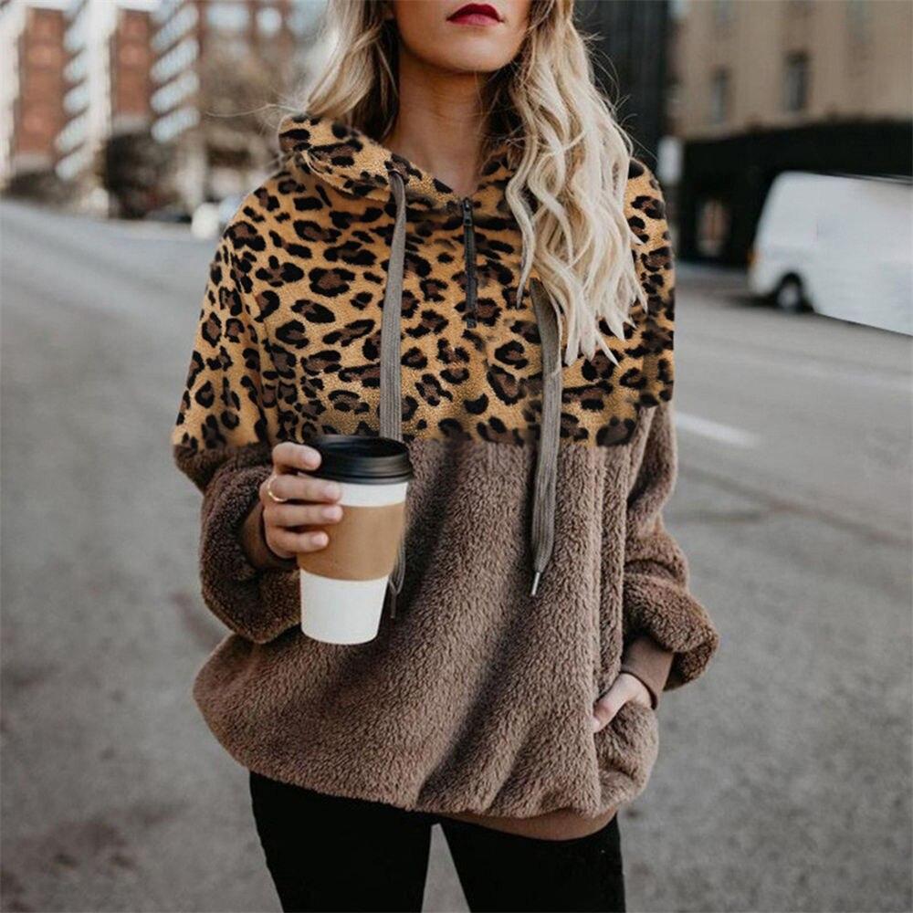 Leopard Teddy Sweater Hooded Oversized Sherpa Pullover New Plus Size 5XL Fluffy Feece Sweaters Female Leopard Warm Streetwear