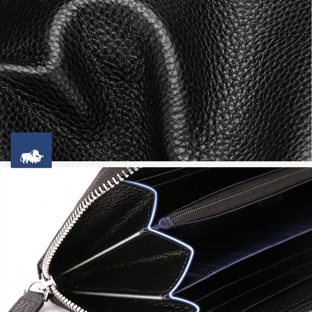 Bsion الجينز ماركة جلد طبيعي الرجال مخلب حقيبة اليدوية محافظ جلدية المحفظة بطاقة حامل عملة محفظة سستة الذكور طويلة n8195