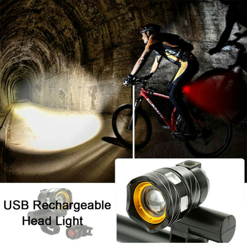 LED Mountain Cycle Head Light Waterproof Rechargeable 15000LM XM-L T6 LED MTB Bicycle Light Bike Front Rear Light Set With USB