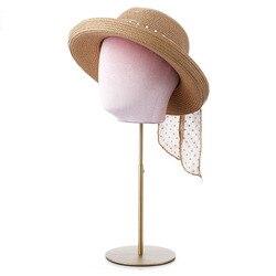 MANIQUÍ PARA sombrero de cabeza soporte Multi Color ajustable terciopelo arpillera y lino base de Metal