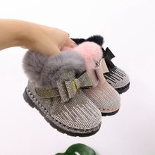 Baby Girl Shoes 1-3 Years Old Winter Toddler Shoes Soft Bottom Princess Children's Shoes Snow Boots Baby Cotton Shoes(China)