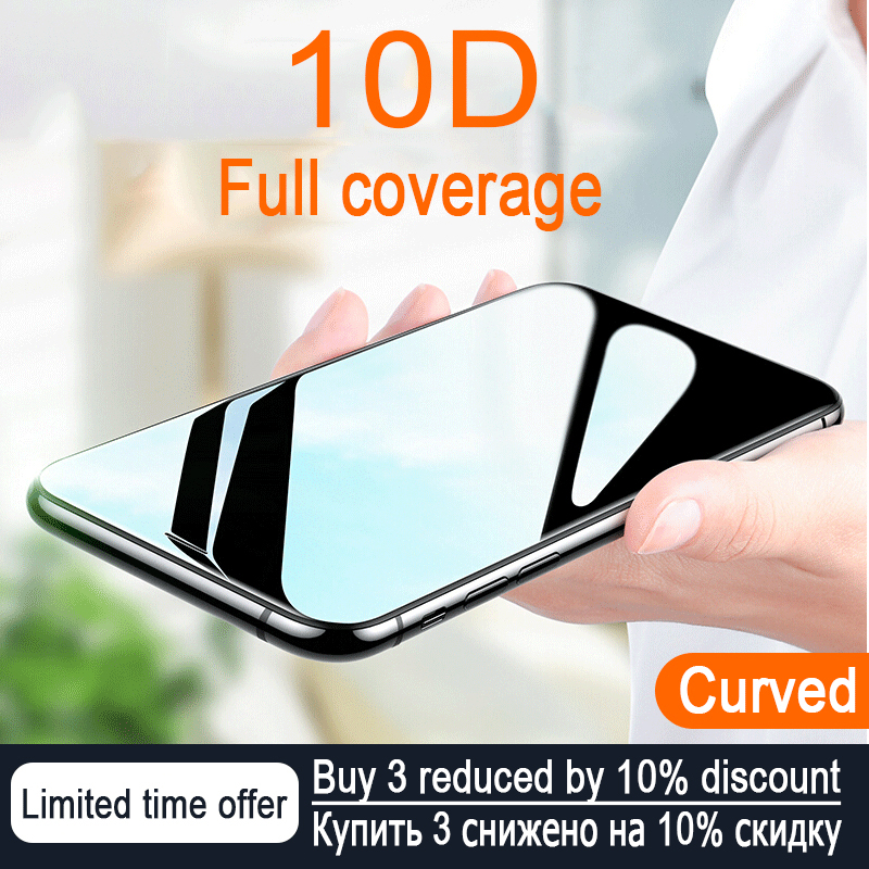 10D Curved Edge Full Cover Protective Glass On The For IPhone 7 8 6 6S Plus Tempered Screen Protector IPhone X XR XS Max Glass