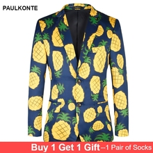 PAULKONTE 2019 Autumn Winter Pineapple Pattern Male Blazer Fashion Fresh Vibrant Dinner Show Costume Youth Slim Blue Bottom