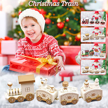 Christmas Four Festival Train Wooden Train Christmas Gift Decoration Ornaments christmas decoration Best kids Christmas gifts