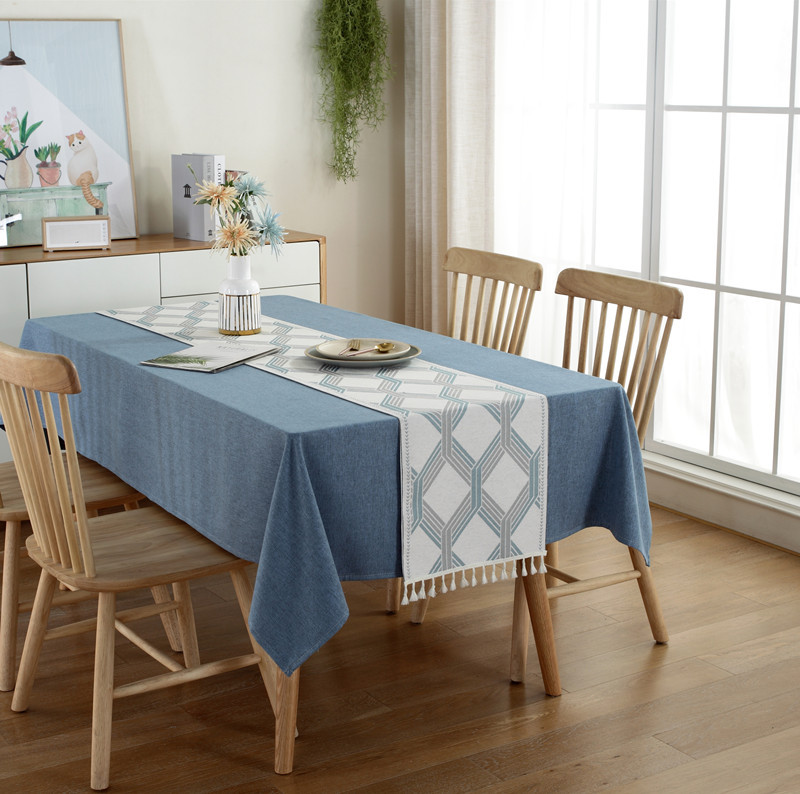 Hot Sale!2020 New Designed Modern Simple Style Solid Color Geometry Printed 100%Polyester Tablecloth Table Runner