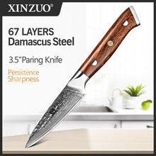 XINZUO-cuchillo de pelar VG10 de 3,5 pulgadas, cuchilla de acero de Damasco, cortador de utilidad de acero inoxidable, regalo, para el desierto de América del Norte, mango de madera de hierro