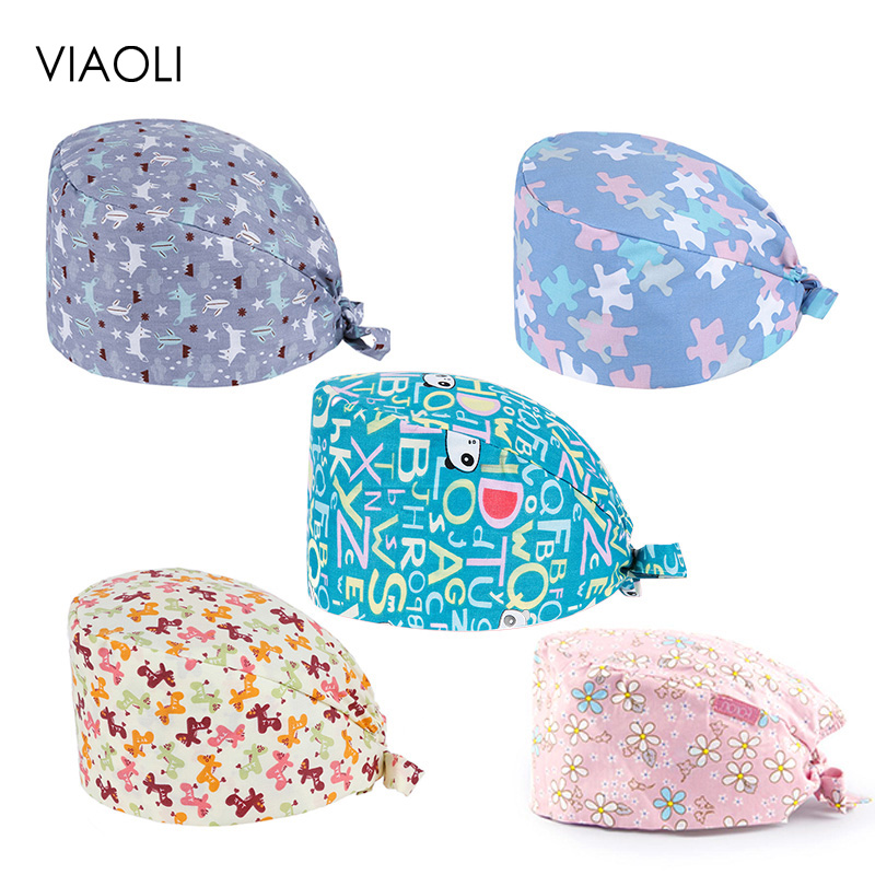 VIAOLI Scrub Caps For Men Women Adjustable Size Elastic Section Surgical Caps Hospital Medical Hats Pet Doctor Hats New Arrival