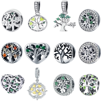 Authentic 100% Real 925 Sterling Silver Tree Of Life ,Green CZ Beads fit Bead Bracelet Original Charms Jewelry Making