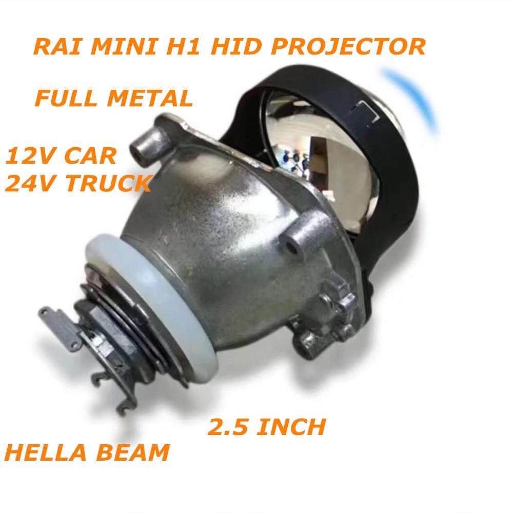 DLAND OWN FULL METAL RAI MINI HID BI-XENON PROJECTOR LENS 2.5 INCH BOTH 12V CAR 24V TRUCK EASY INSTALL H1 H4 H7 LHD HEADLIGHT