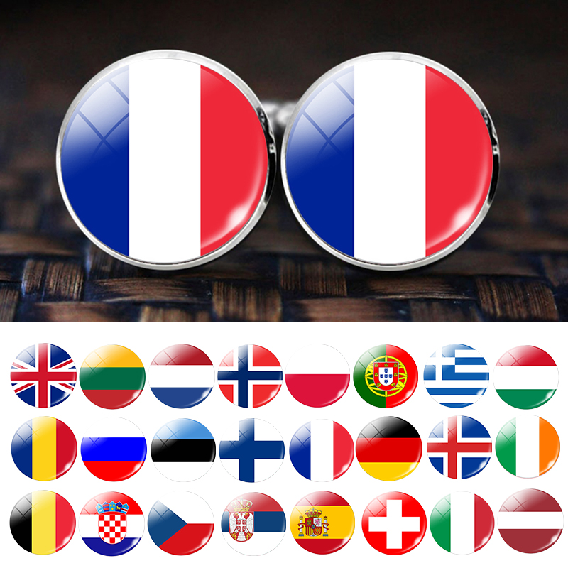 Men Fashion Europe Countries National Flag Cufflinks Spain UK France Russia Italy Germany Poland Flag Suit Cuff Links Button