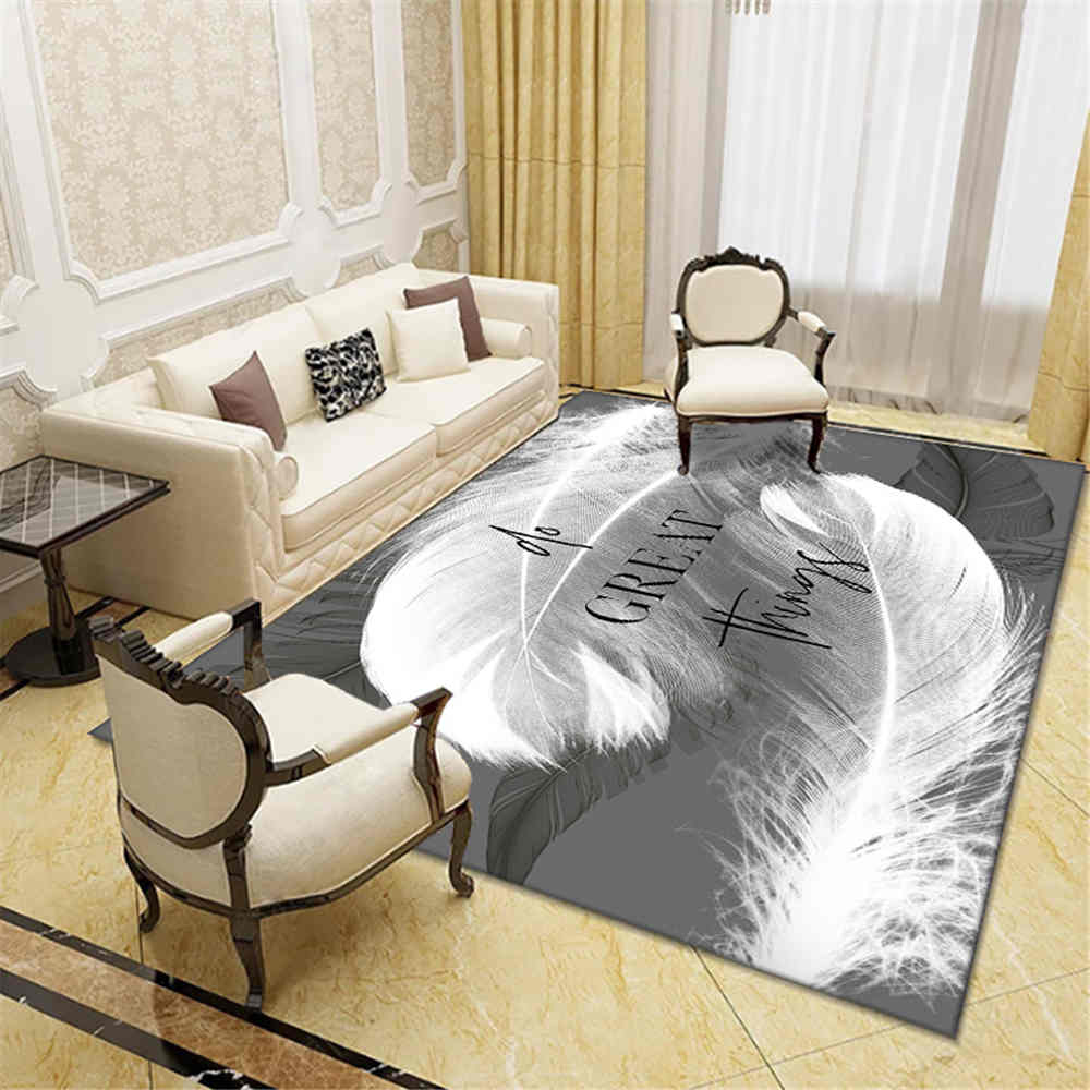 Fashion Sofa Area Rug Bedroom Home Decorative Floor Rug Mat Flannel Anti Slip White Feather Big Carpet For Living Room