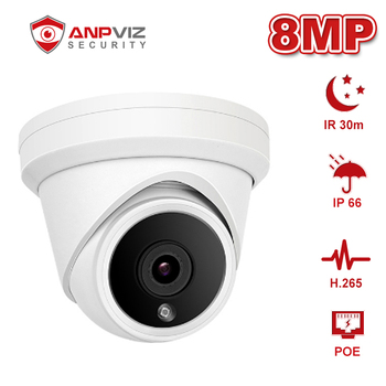 Anpviz 8MP 4K Dome POE IP Camera IR 30m Outdoor Security CCTV Video Surveillance Waterproof Cam Network Cam ONVIF IP66 P2P H.265