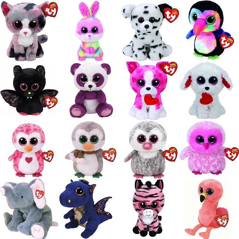 Gorrito de felpa de 25cm para niñas, animales de peluche, unicornio, búho, dinosaurio, murciélago, zorro, ojo grande, juguetes suaves, regalo de cumpleaños