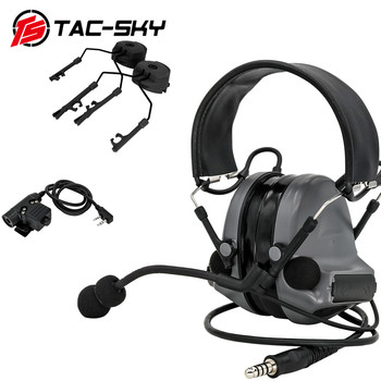 TAC-SKY tactical noise reduction shooting headset COMTAC II headset + tactical PTT U94 PTT+ARC helmet track comtac bracket  GRAY tactical comtac ii anti noise sound amplification electronic noise reduction shooting headphones and tactical ptt u94 ptt de