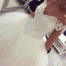 Vestido de Novia de Turquía árabe Civil, vestido de Novia de encaje con perlas de tul hinchado, Vestidos de boda estilo africano hechos a medida, Vestidos de Novia