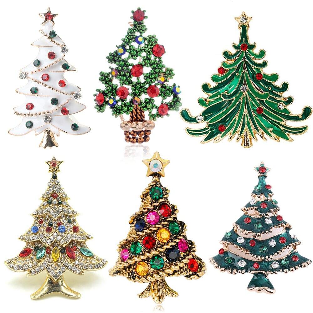 Женская Брошь в виде рождественской елки, со стразами