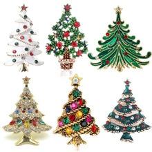 Brooches Christmas-Tree Jewelry Gift Rhinestone Fashion Women for Festival Winter Coat