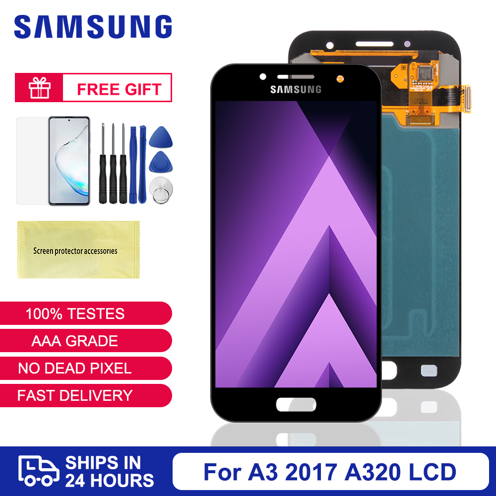 Original 4.7'' LCD For Samsung A3 2017 <font><b>A320</b></font> A320F A320Y A320FL LCD Display Touch Screen Digitizer Assembly Replacement Parts image